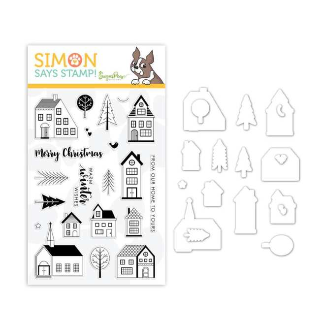 Illustration of the Nordic Village stamp set and coordinating dies